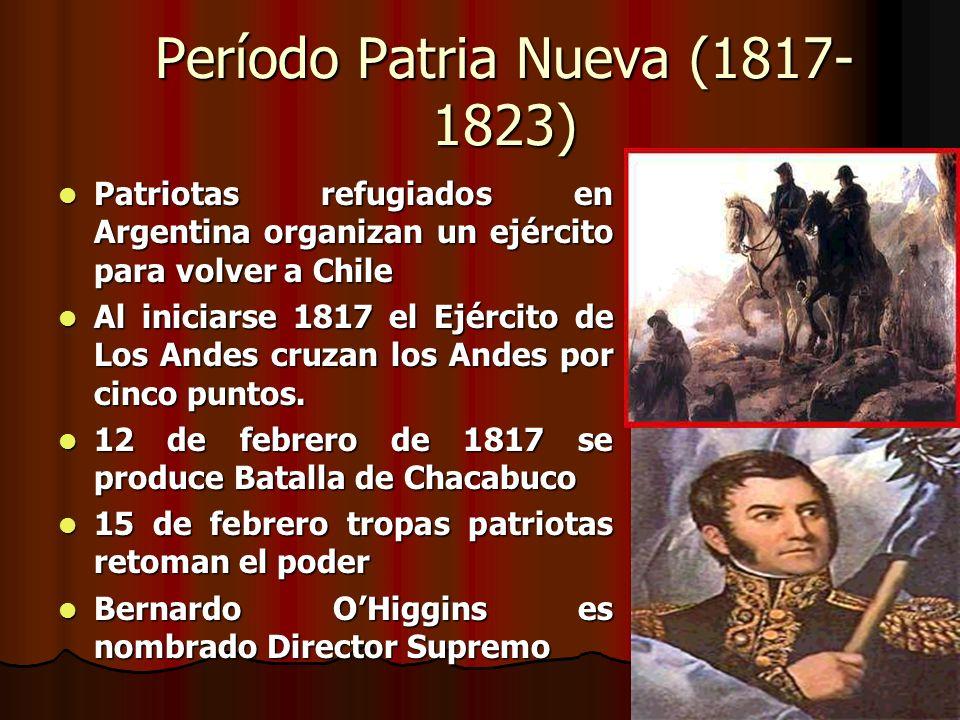 Período Patria Nueva (1817- 1823) Patriotas refugiados en Argentina organizan un ejército para volver a Chile Patriotas refugiados en Argentina organi