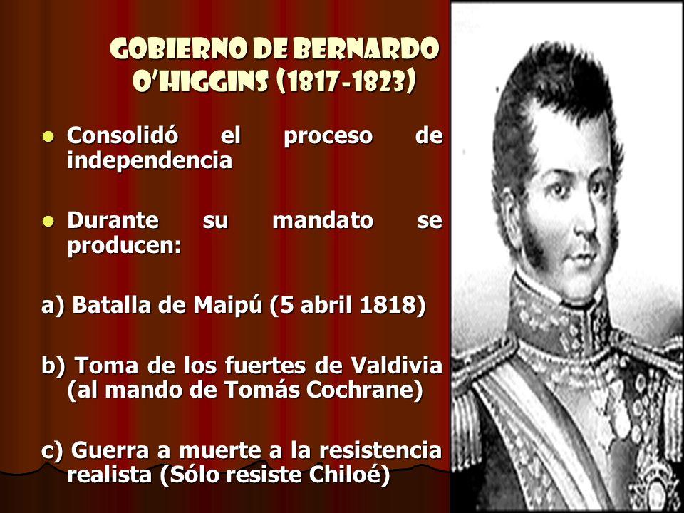 Gobierno de Bernardo OHiggins (1817-1823) Consolidó el proceso de independencia Consolidó el proceso de independencia Durante su mandato se producen: