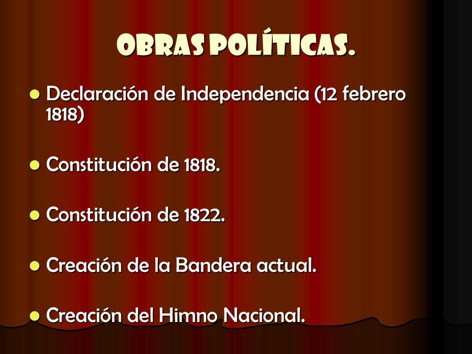 Obras Políticas. Declaración de Independencia (12 febrero 1818) Declaración de Independencia (12 febrero 1818) Constitución de 1818. Constitución de 1