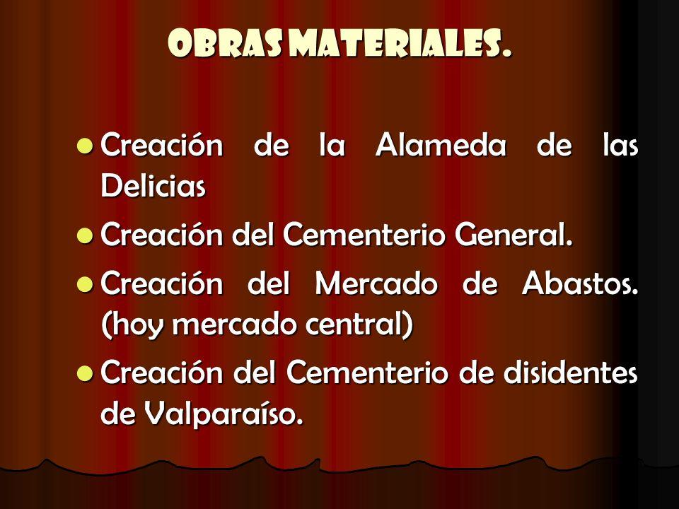 Obras Materiales. Creación de la Alameda de las Delicias Creación de la Alameda de las Delicias Creación del Cementerio General. Creación del Cementer