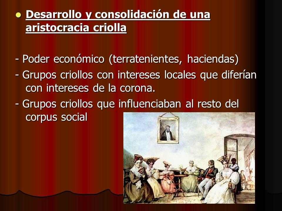 Desarrollo y consolidación de una aristocracia criolla Desarrollo y consolidación de una aristocracia criolla - Poder económico (terratenientes, hacie