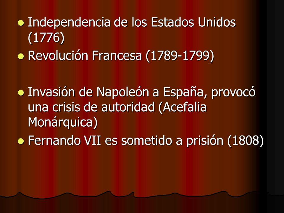 Independencia de los Estados Unidos (1776) Independencia de los Estados Unidos (1776) Revolución Francesa (1789-1799) Revolución Francesa (1789-1799)