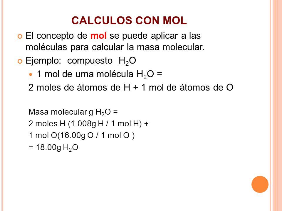 CALCULOS CON MOL El concepto de mol se puede aplicar a las moléculas para calcular la masa molecular. Ejemplo: compuesto H 2 O 1 mol de uma molécula H