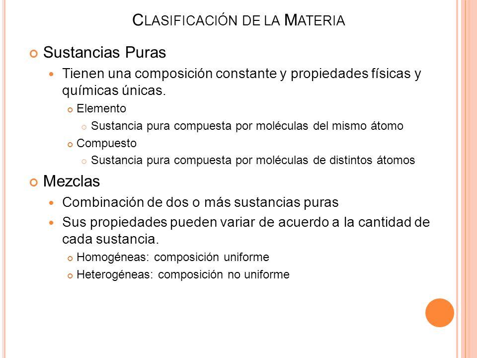 Sustancias Puras Tienen una composición constante y propiedades físicas y químicas únicas. Elemento Sustancia pura compuesta por moléculas del mismo á