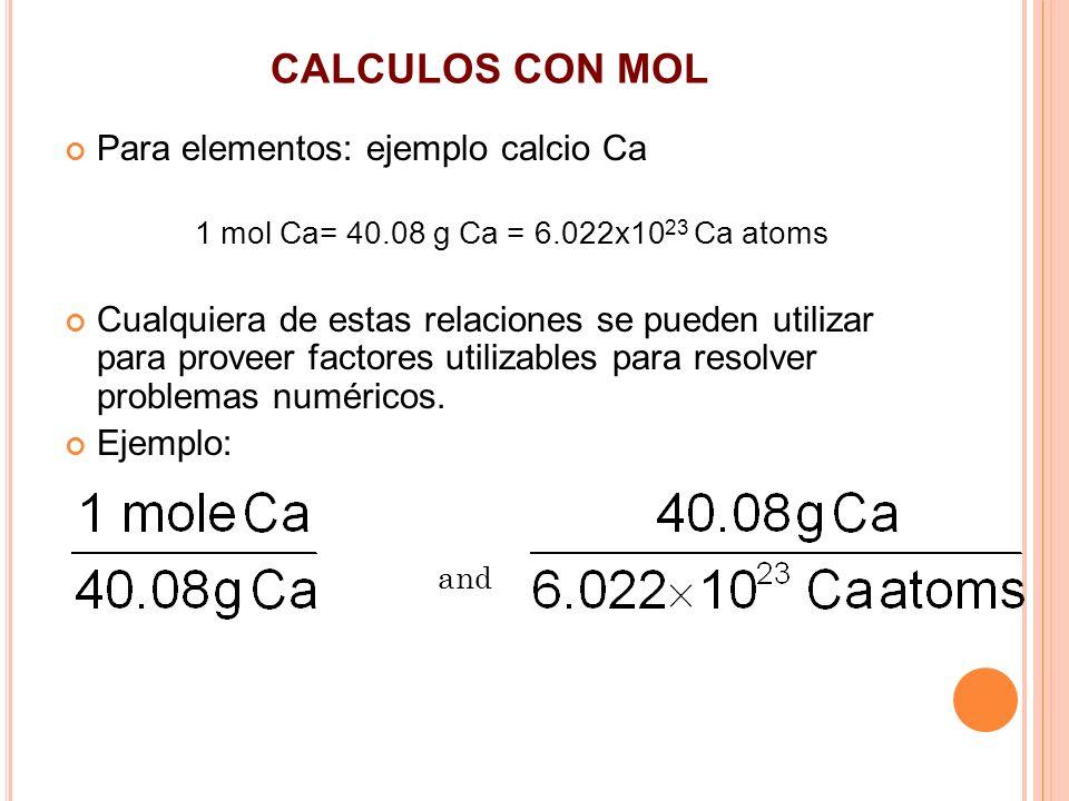 CALCULOS CON MOL Para elementos: ejemplo calcio Ca 1 mol Ca= 40.08 g Ca = 6.022x10 23 Ca atoms Cualquiera de estas relaciones se pueden utilizar para