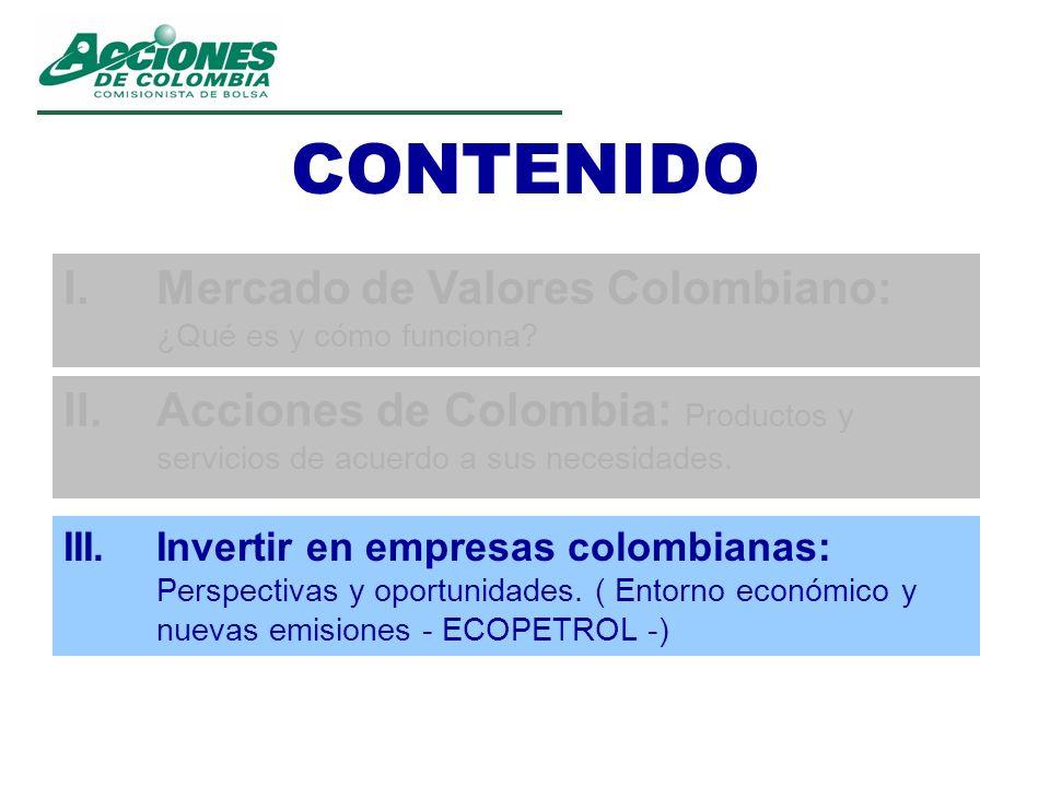 CONTENIDO I.Mercado de Valores Colombiano: ¿Qué es y cómo funciona? II.Acciones de Colombia: Productos y servicios de acuerdo a sus necesidades. III.I