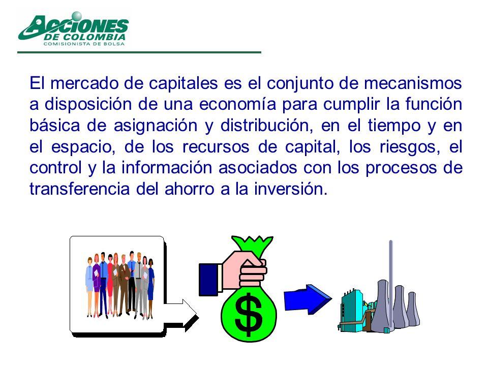 El mercado de capitales es el conjunto de mecanismos a disposición de una economía para cumplir la función básica de asignación y distribución, en el