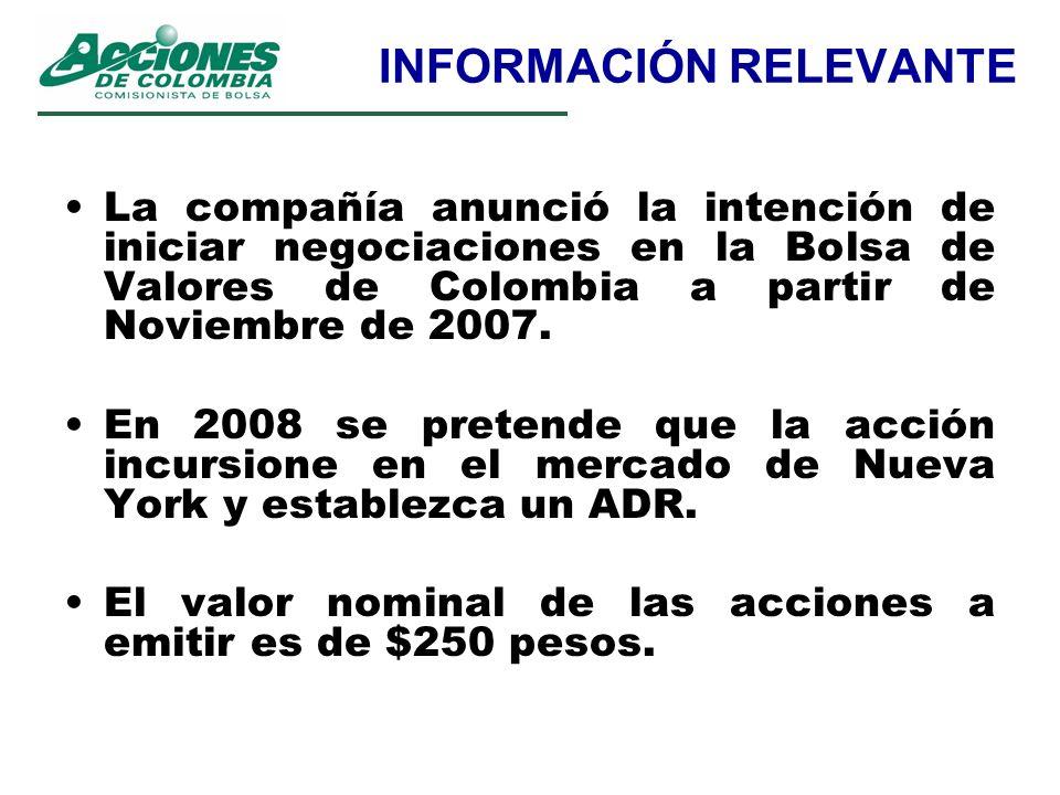 INFORMACIÓN RELEVANTE La compañía anunció la intención de iniciar negociaciones en la Bolsa de Valores de Colombia a partir de Noviembre de 2007. En 2