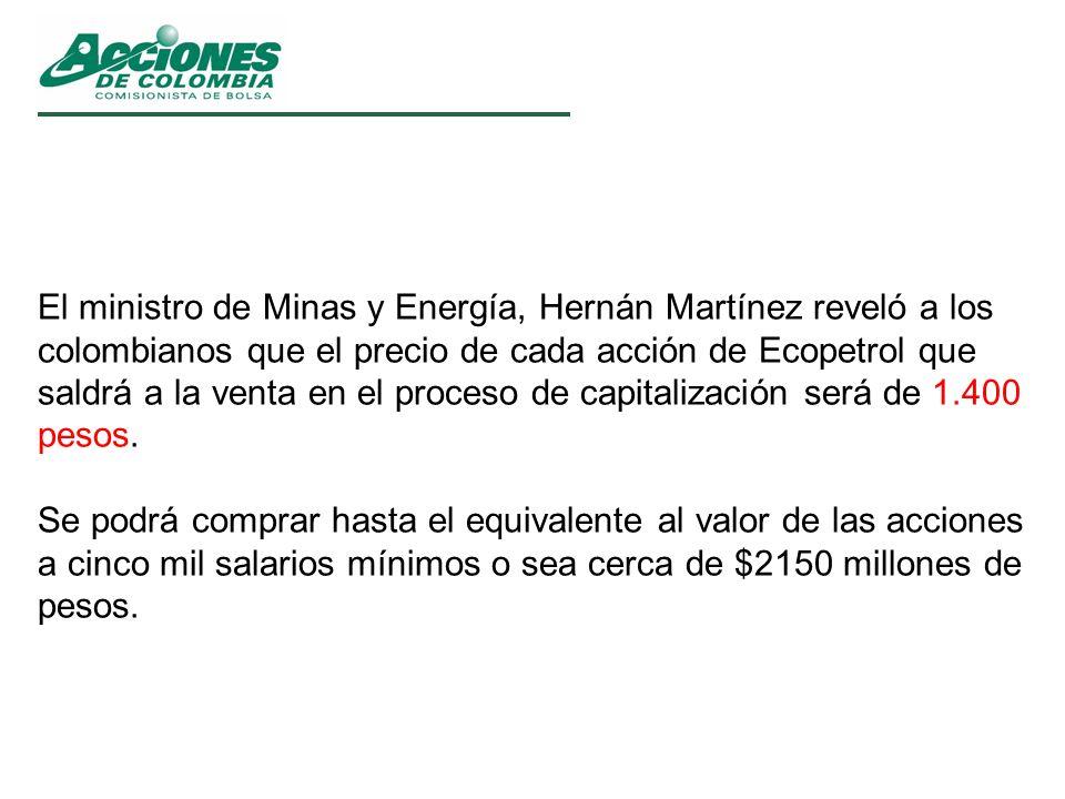 El ministro de Minas y Energía, Hernán Martínez reveló a los colombianos que el precio de cada acción de Ecopetrol que saldrá a la venta en el proceso