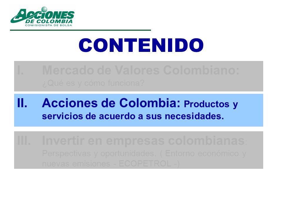CONTENIDO II.Acciones de Colombia: Productos y servicios de acuerdo a sus necesidades. III.Invertir en empresas colombianas : Perspectivas y oportunid
