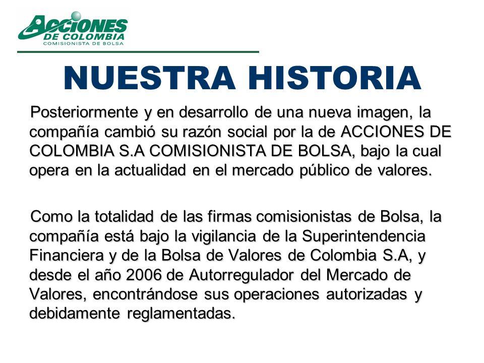Posteriormente y en desarrollo de una nueva imagen, la compañía cambió su razón social por la de ACCIONES DE COLOMBIA S.A COMISIONISTA DE BOLSA, bajo