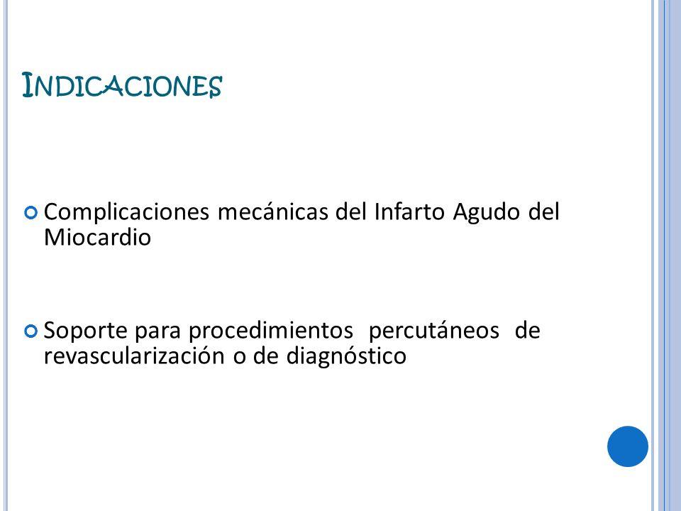 I NDICACIONES Complicaciones mecánicas del Infarto Agudo del Miocardio Soporte para procedimientos percutáneos de revascularización o de diagnóstico