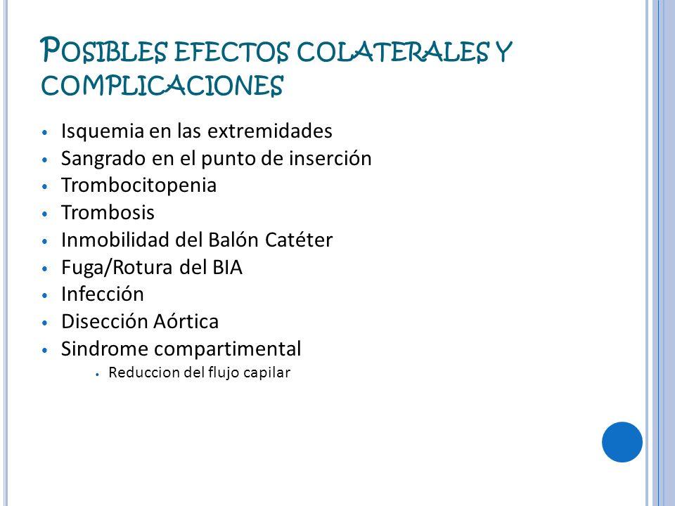 P OSIBLES EFECTOS COLATERALES Y COMPLICACIONES Isquemia en las extremidades Sangrado en el punto de inserción Trombocitopenia Trombosis Inmobilidad de