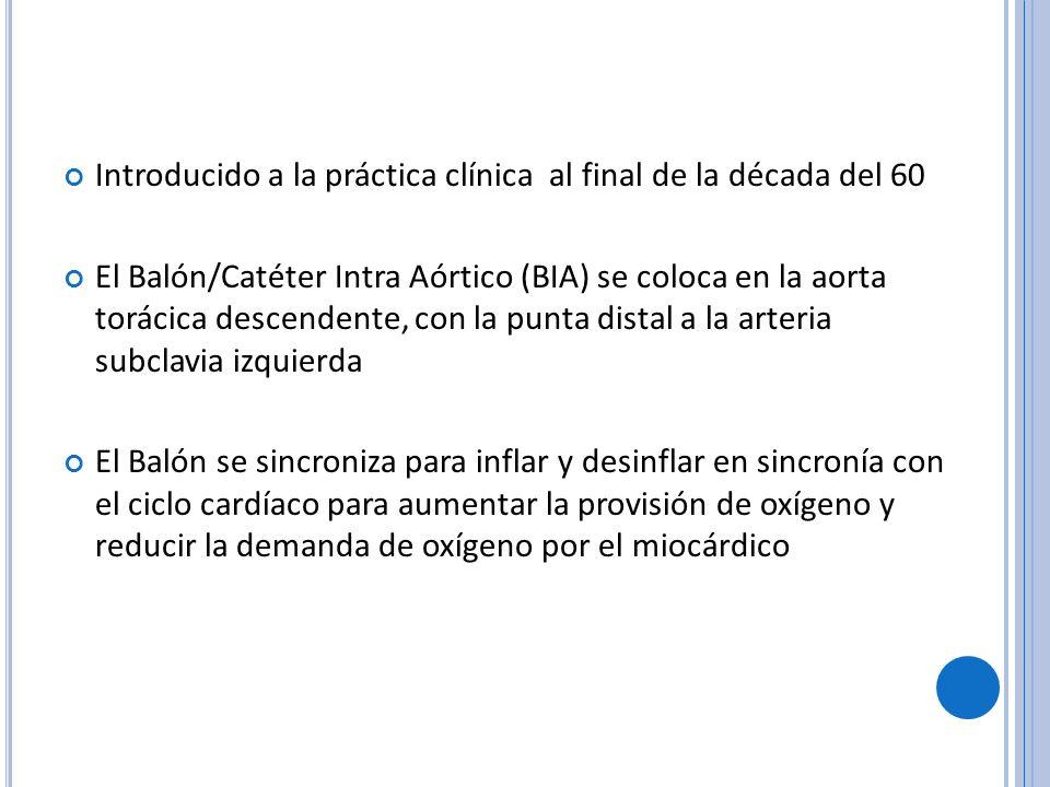 Introducido a la práctica clínica al final de la década del 60 El Balón/Catéter Intra Aórtico (BIA) se coloca en la aorta torácica descendente, con la