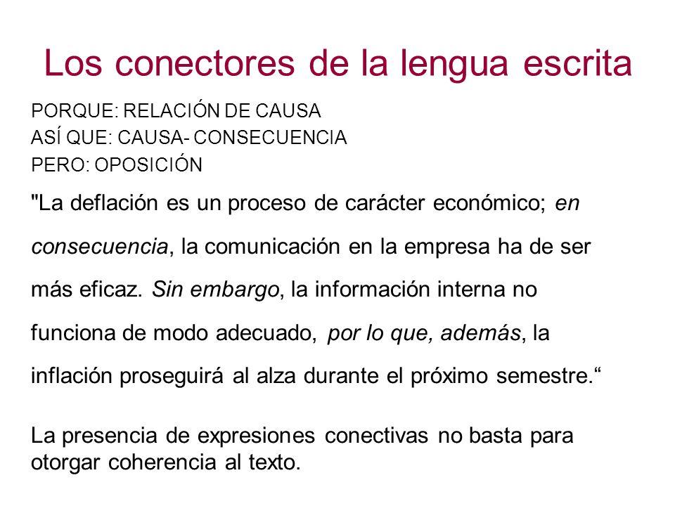 Los conectores de la lengua escrita PORQUE: RELACIÓN DE CAUSA ASÍ QUE: CAUSA- CONSECUENCIA PERO: OPOSICIÓN La deflación es un proceso de carácter económico; en consecuencia, la comunicación en la empresa ha de ser más eficaz.
