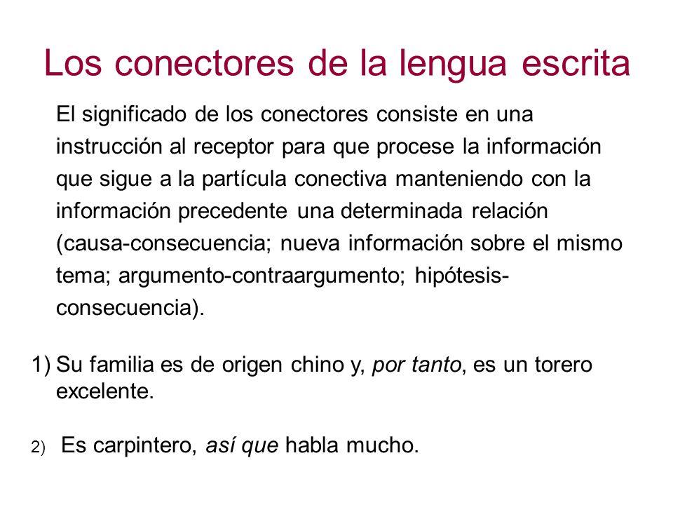 Los conectores de la lengua escrita Influencia del conjunto de supuestos, de conocimientos y de creencias implícitas que comparte una comunidad lingüística.