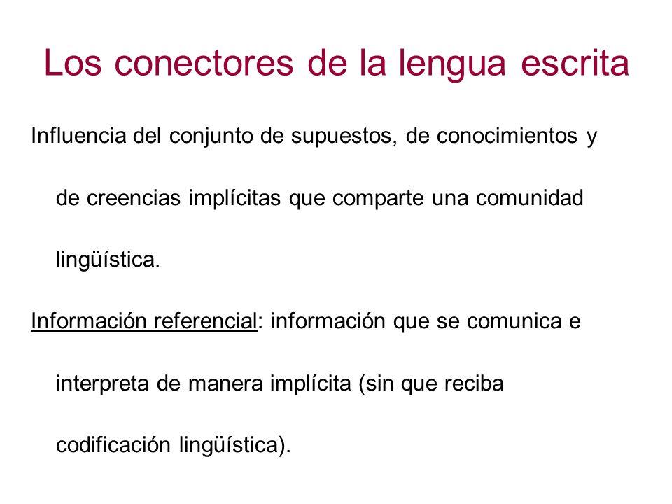 Los conectores de la lengua escrita Influencia del conjunto de supuestos, de conocimientos y de creencias implícitas que comparte una comunidad lingüí