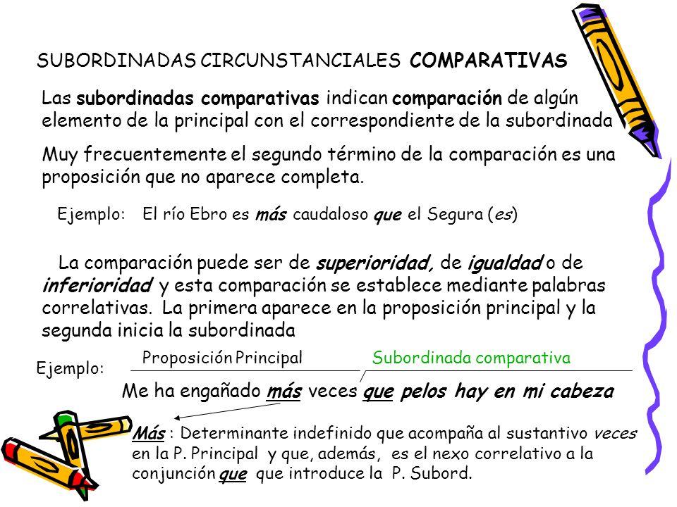 SUBORDINADAS CIRCUNSTANCIALES COMPARATIVAS Las subordinadas comparativas indican comparación de algún elemento de la principal con el correspondiente