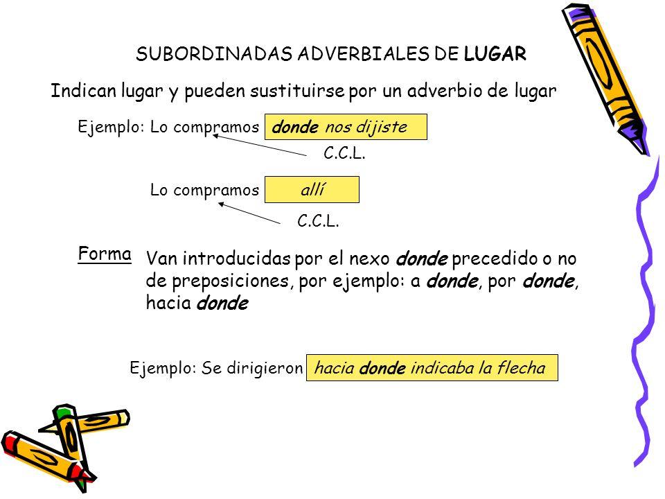 Ejemplo:Lo compramos donde nos dijiste C.C.L. Lo compramos allí C.C.L. SUBORDINADAS ADVERBIALES DE LUGAR Indican lugar y pueden sustituirse por un adv