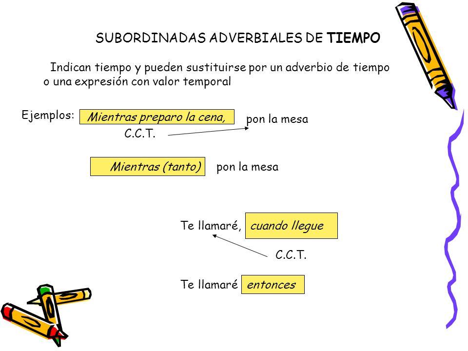 SUBORDINADAS ADVERBIALES DE TIEMPO Indican tiempo y pueden sustituirse por un adverbio de tiempo o una expresión con valor temporal Ejemplos: Mientras