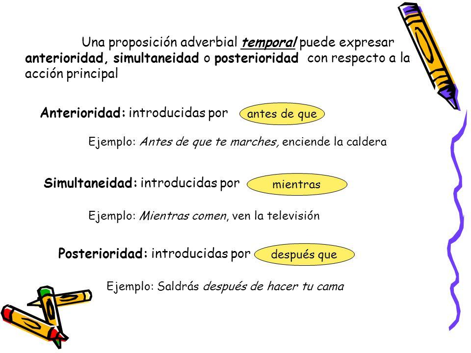 Una proposición adverbial temporal puede expresar anterioridad, simultaneidad o posterioridad con respecto a la acción principal Anterioridad: introdu