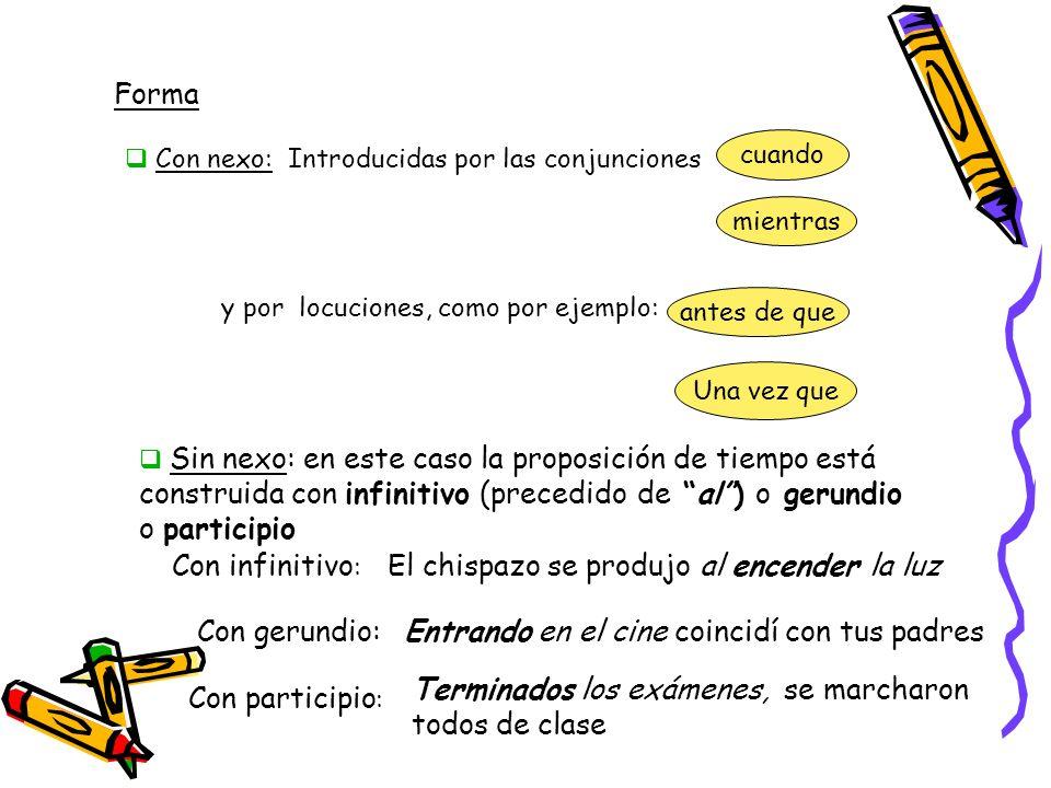 Forma Introducidas por las conjunciones Con nexo: cuando mientras y por locuciones, como por ejemplo: antes de que Una vez que Sin nexo: en este caso