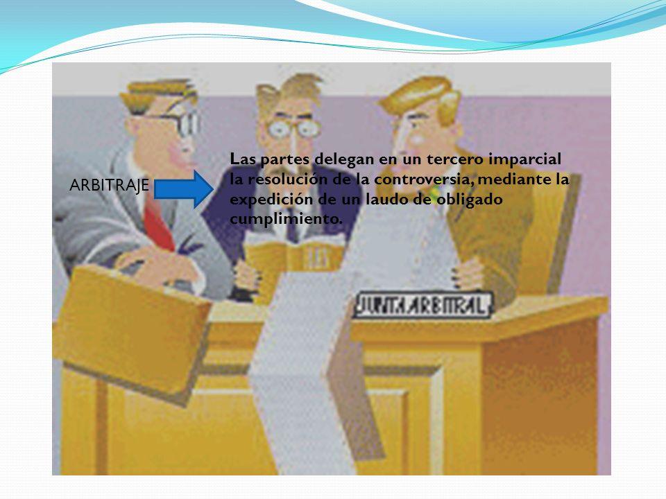ARBITRAJE Las partes delegan en un tercero imparcial la resolución de la controversia, mediante la expedición de un laudo de obligado cumplimiento.