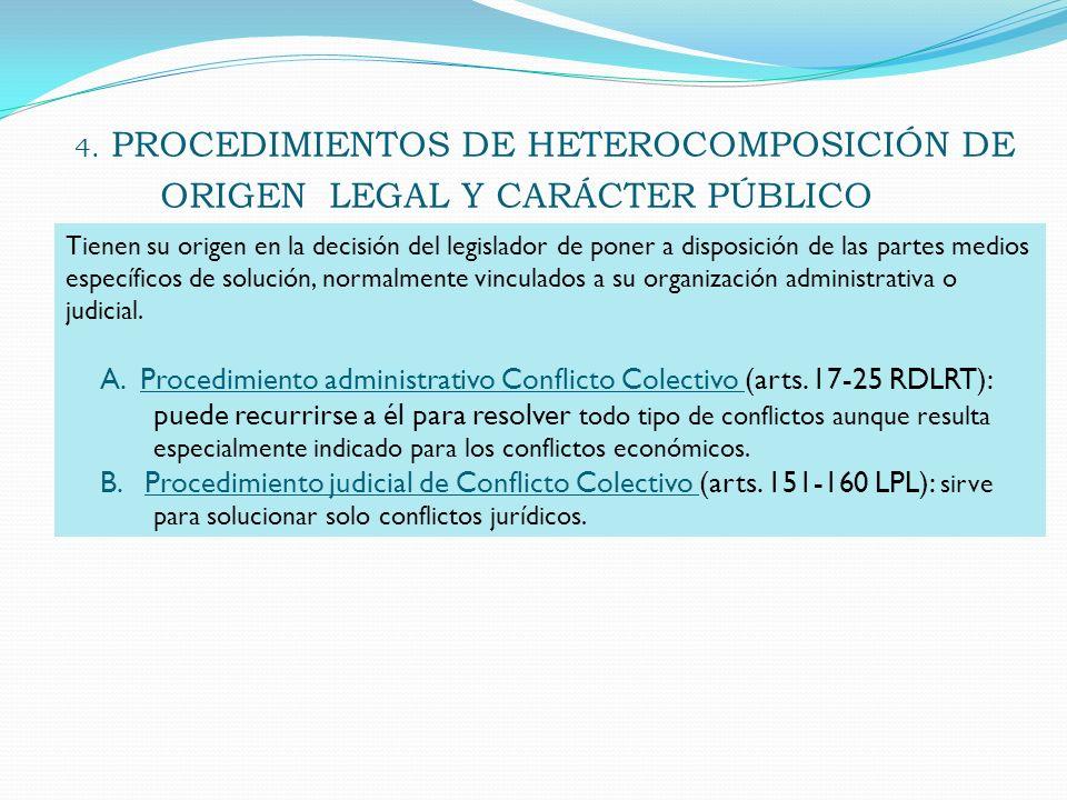 4. PROCEDIMIENTOS DE HETEROCOMPOSICIÓN DE ORIGEN LEGAL Y CARÁCTER PÚBLICO Tienen su origen en la decisión del legislador de poner a disposición de las