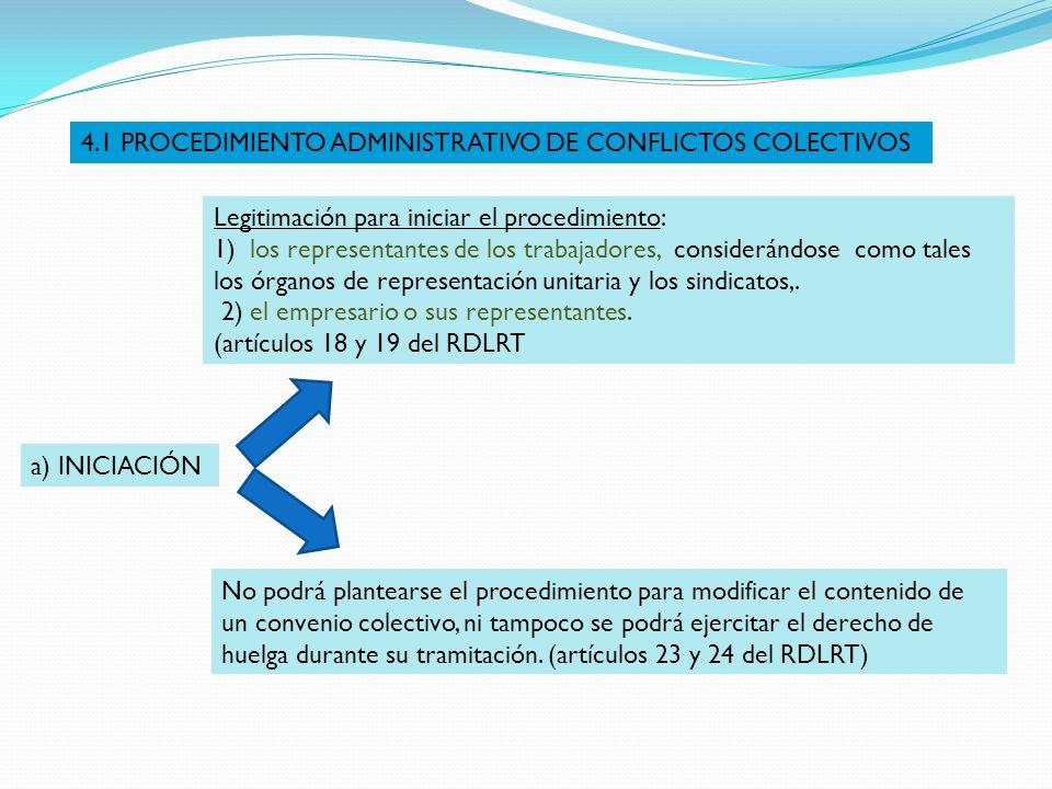 a) INICIACIÓN Legitimación para iniciar el procedimiento: 1) los representantes de los trabajadores, considerándose como tales los órganos de represen