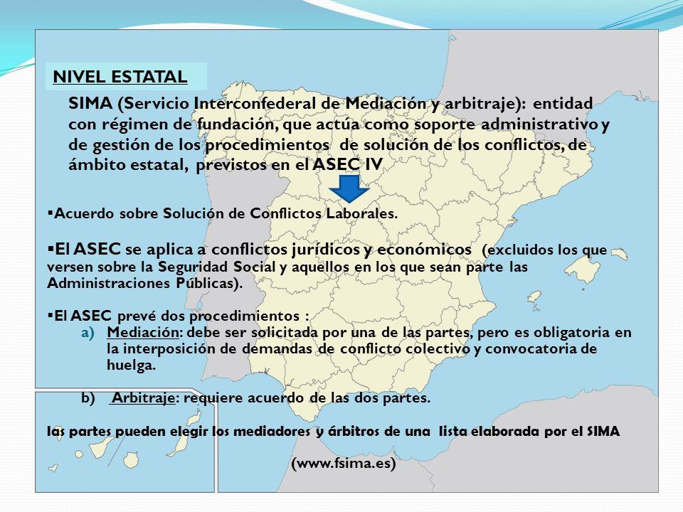 NIVEL ESTATAL SIMA (Servicio Interconfederal de Mediación y arbitraje): entidad con régimen de fundación, que actúa como soporte administrativo y de g