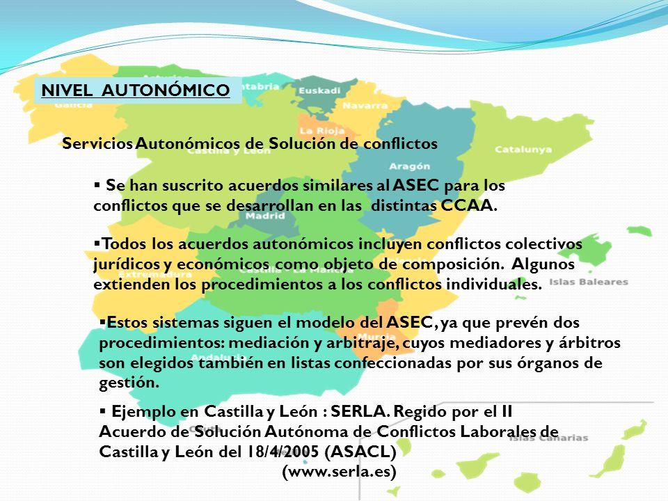 NIVEL AUTONÓMICO Servicios Autonómicos de Solución de conflictos Se han suscrito acuerdos similares al ASEC para los conflictos que se desarrollan en
