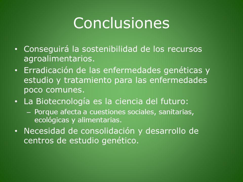 Conclusiones Conseguirá la sostenibilidad de los recursos agroalimentarios. Erradicación de las enfermedades genéticas y estudio y tratamiento para la