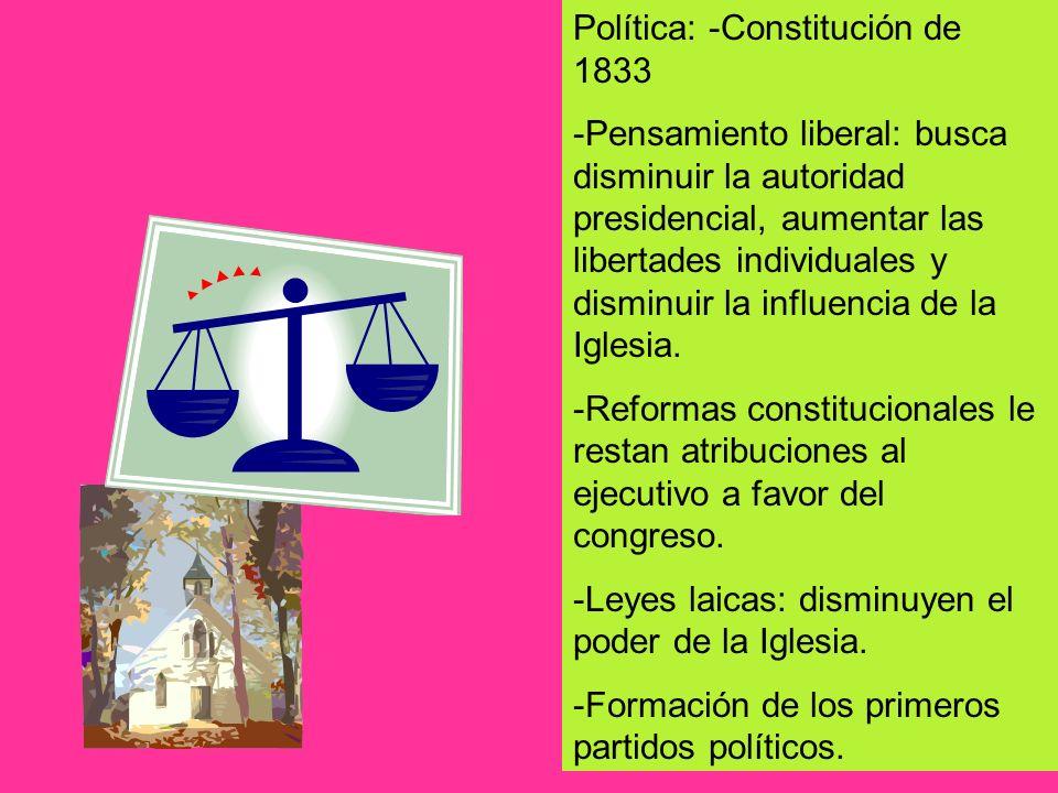 Política: -Constitución de 1833 -Pensamiento liberal: busca disminuir la autoridad presidencial, aumentar las libertades individuales y disminuir la i