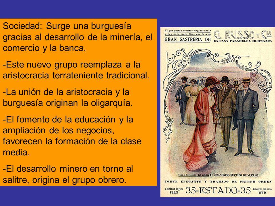 Sociedad: Surge una burguesía gracias al desarrollo de la minería, el comercio y la banca. -Este nuevo grupo reemplaza a la aristocracia terrateniente