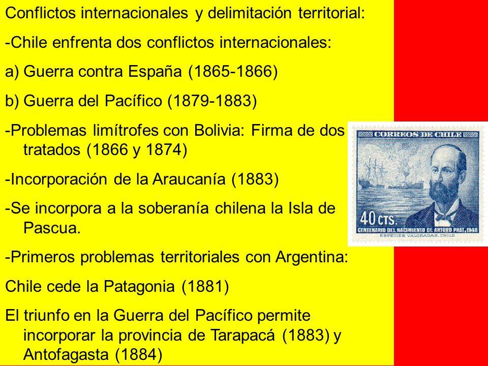 Conflictos internacionales y delimitación territorial: -Chile enfrenta dos conflictos internacionales: a)Guerra contra España (1865-1866) b)Guerra del