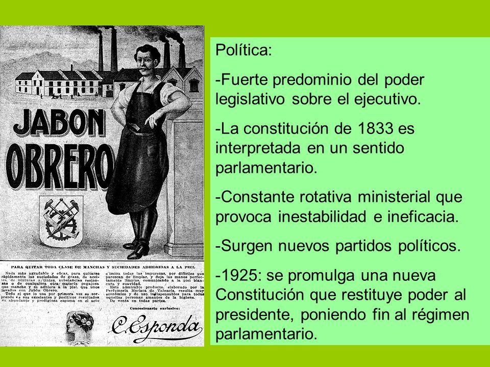 Política: -Fuerte predominio del poder legislativo sobre el ejecutivo. -La constitución de 1833 es interpretada en un sentido parlamentario. -Constant