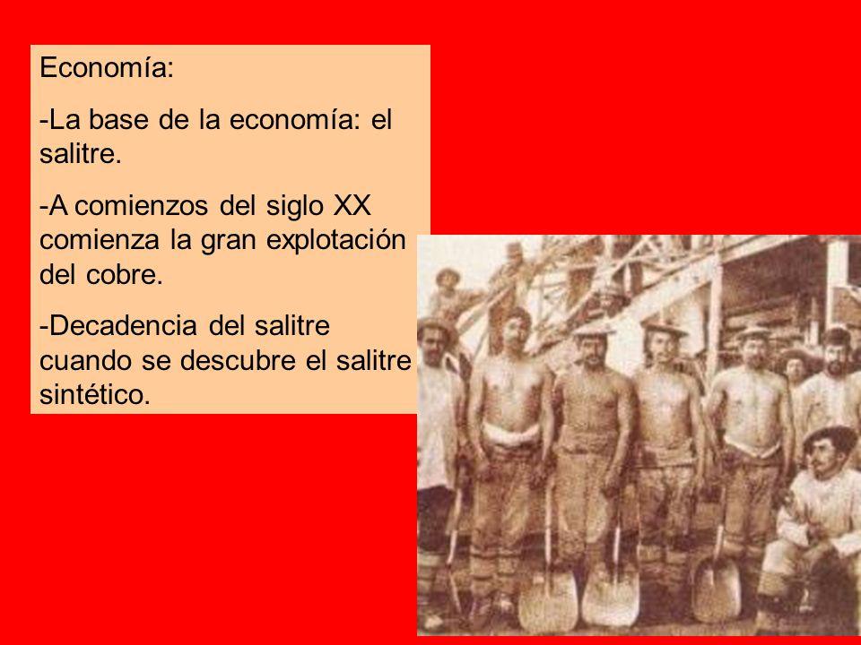 Economía: -La base de la economía: el salitre. -A comienzos del siglo XX comienza la gran explotación del cobre. -Decadencia del salitre cuando se des