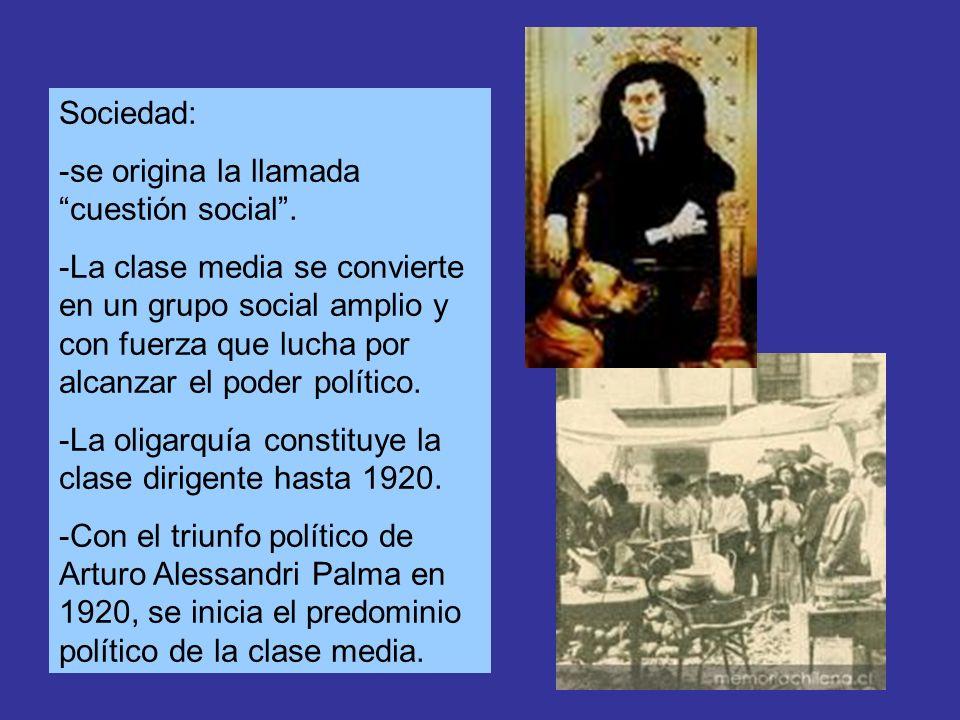 Sociedad: -se origina la llamada cuestión social. -La clase media se convierte en un grupo social amplio y con fuerza que lucha por alcanzar el poder