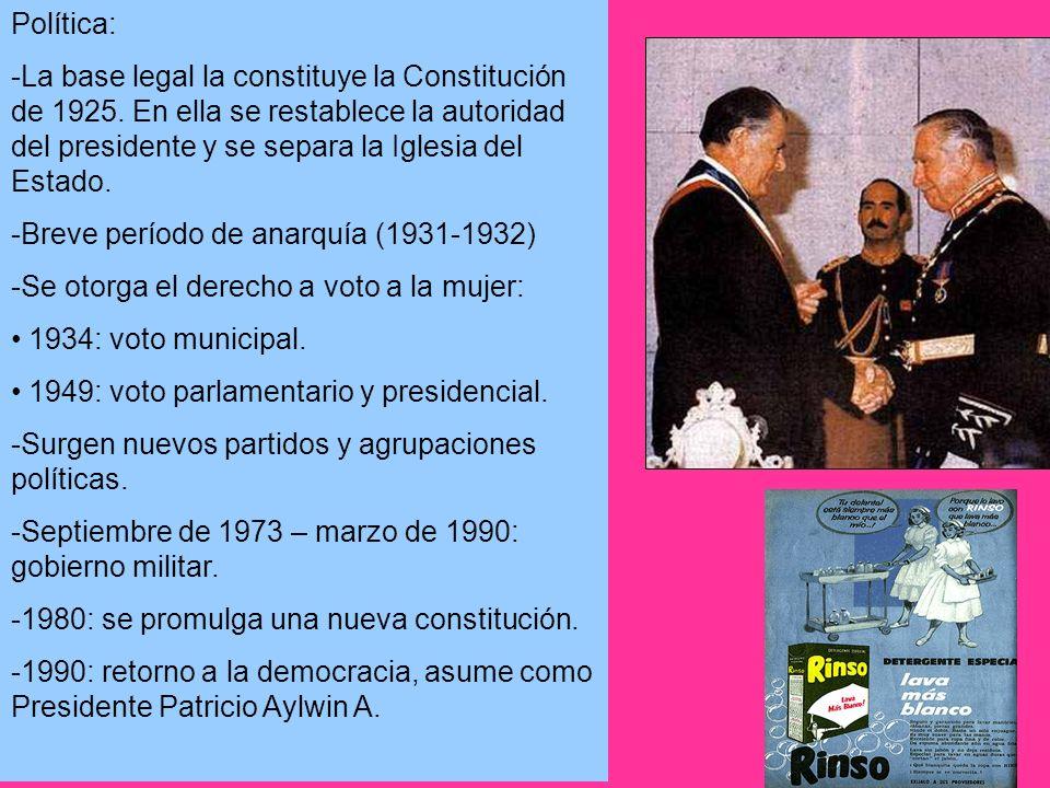 Política: -La base legal la constituye la Constitución de 1925. En ella se restablece la autoridad del presidente y se separa la Iglesia del Estado. -