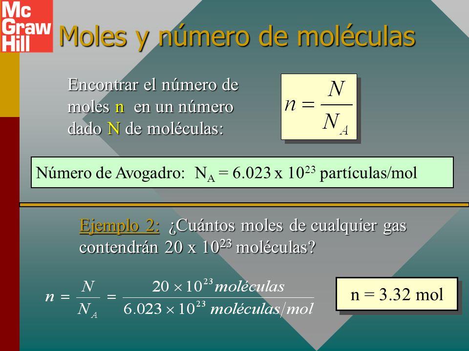 Masa molecular en gramos/mol La unidad de masa molecular M es gramos por mol. Hidrógeno, H = 1.0 g/mol Helio, He = 4.0 g/mol Carbono, C = 12.0 g/mol O