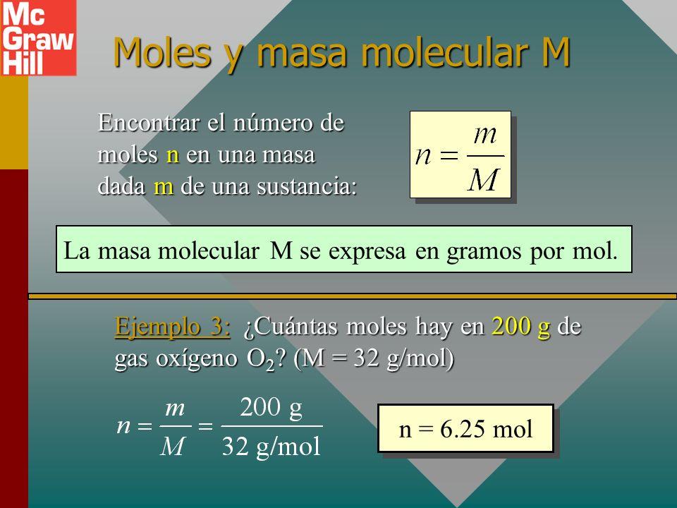 Moles y número de moléculas Encontrar el número de moles n en un número dado N de moléculas: Número de Avogadro: N A = 6.023 x 10 23 partículas/mol Ejemplo 2: ¿Cuántos moles de cualquier gas contendrán 20 x 10 23 moléculas.