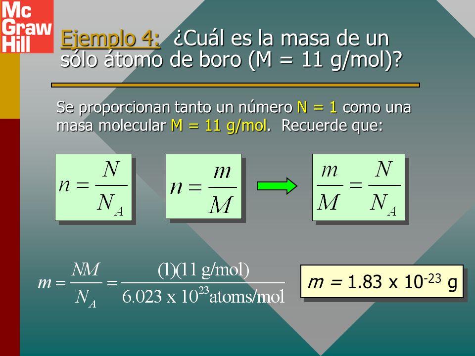 Moles y masa molecular M Encontrar el número de moles n en una masa dada m de una sustancia: La masa molecular M se expresa en gramos por mol. Ejemplo