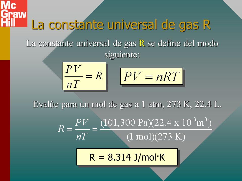 Ley de gas ideal Al sustituir moles n por masa m, se sabe que: En otras palabras, la razón PV/nT es una constante, y si se puede encontrar su valor, se puede trabajar con un sólo estado.