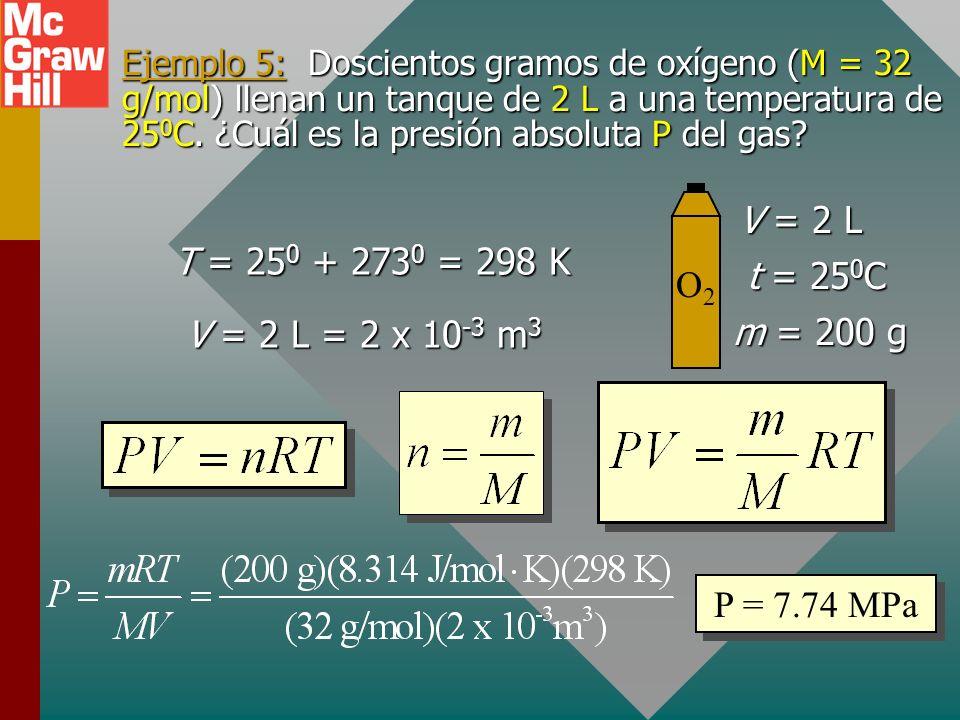 La constante universal de gas R La constante universal de gas R se define del modo siguiente: Evalúe para un mol de gas a 1 atm, 273 K, 22.4 L.