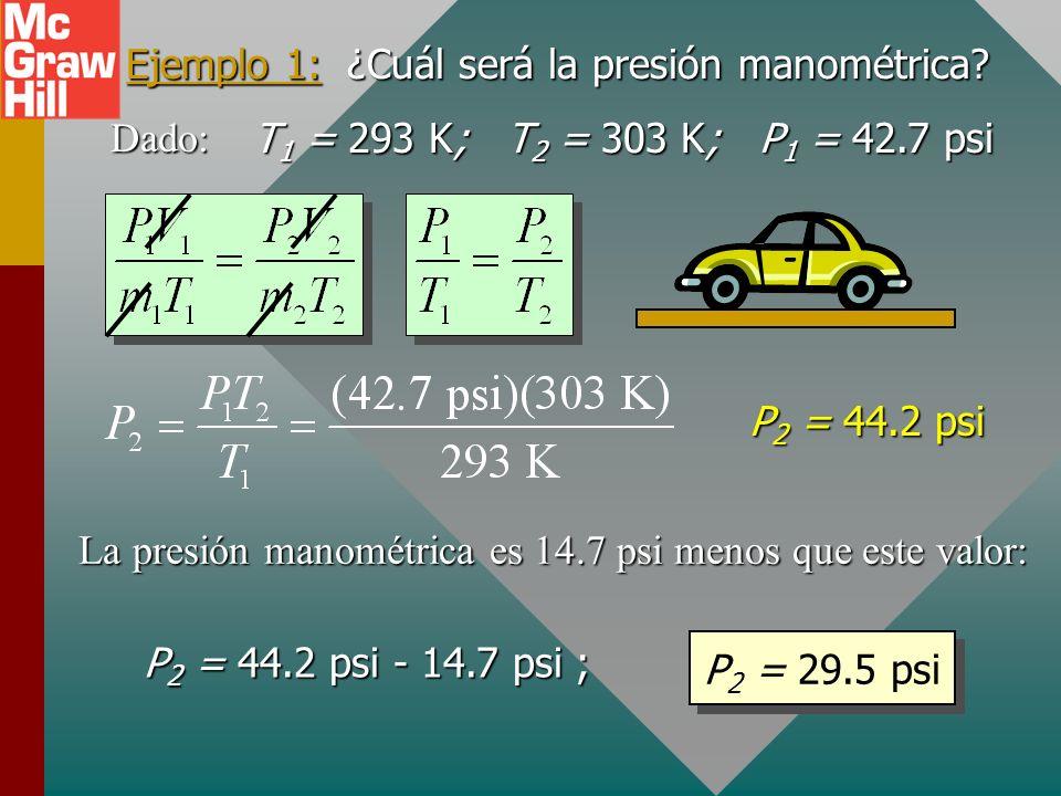 Ejemplo 1: La llanta de un automóvil tiene una presión manométrica de 28 psi en la mañana a 20 0 C. Después de conducir durante horas la temperatura d