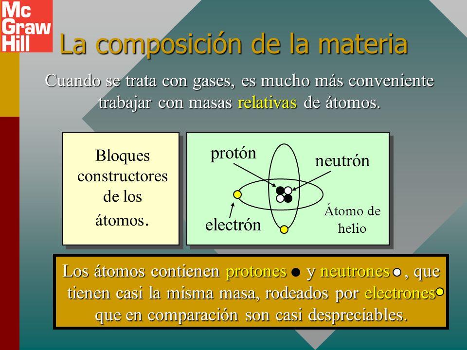 La composición de la materia Cuando se trata con gases, es mucho más conveniente trabajar con masas relativas de átomos.