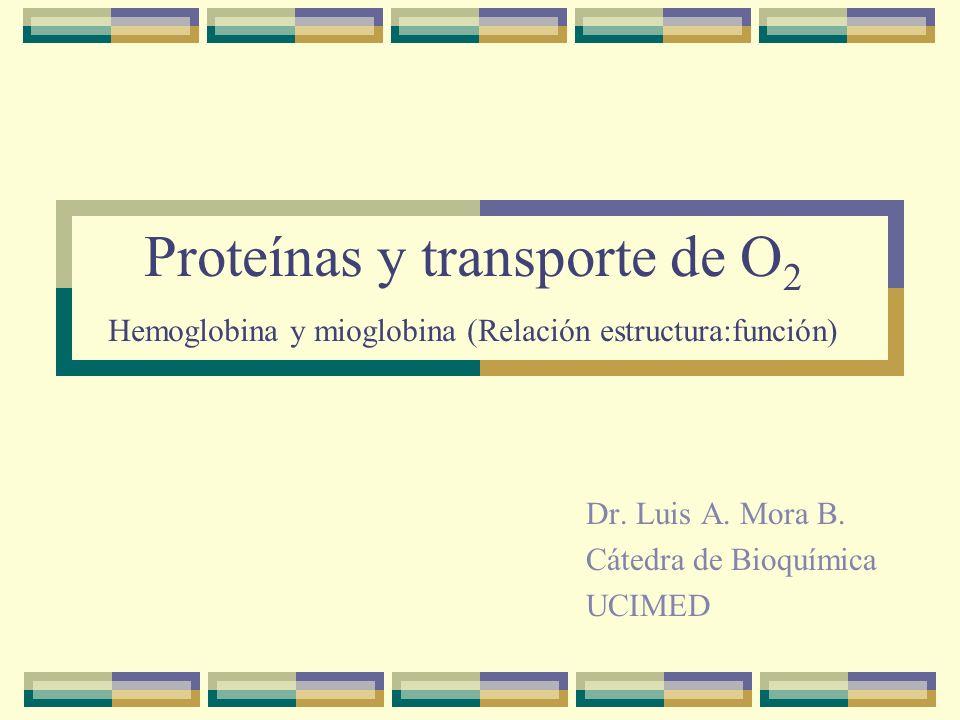 Proteínas y transporte de O 2 Hemoglobina y mioglobina (Relación estructura:función) Dr. Luis A. Mora B. Cátedra de Bioquímica UCIMED