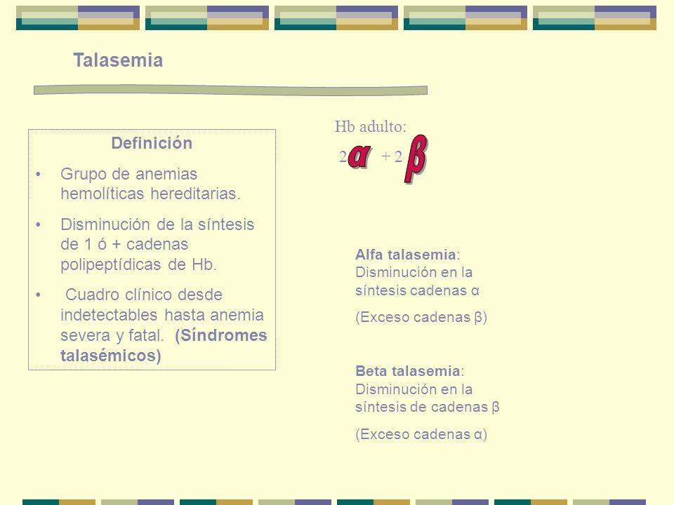 Talasemia Definición Grupo de anemias hemolíticas hereditarias. Disminución de la síntesis de 1 ó + cadenas polipeptídicas de Hb. Cuadro clínico desde