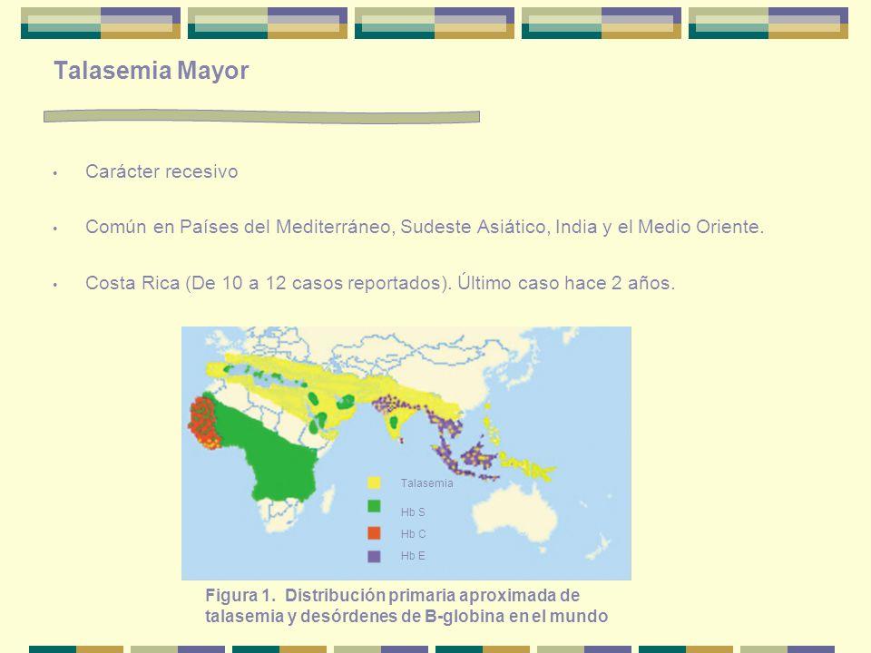 Talasemia Mayor Carácter recesivo Común en Países del Mediterráneo, Sudeste Asiático, India y el Medio Oriente. Costa Rica (De 10 a 12 casos reportado