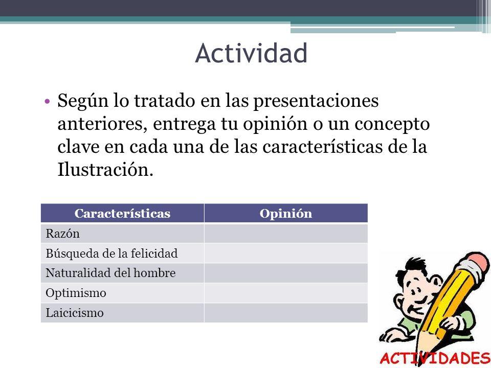 Actividad Según lo tratado en las presentaciones anteriores, entrega tu opinión o un concepto clave en cada una de las características de la Ilustraci